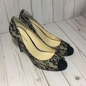 Enzo Angiolini black and beige lace peep toe heels